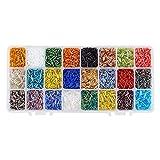 PandaHall Elite 8400 Piezas de 24 Colores Abalorios de Cristal de Bugle semilla de Cuentas de Plata Forrada Tubo Espaciador de 6 mm de Longitud para Pendientes, Pulsera, Collar, Cadena de Gafas