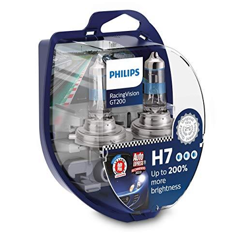 Philips RacingVision GT200 H7 bombilla faros delanteros +200%, paquete doble
