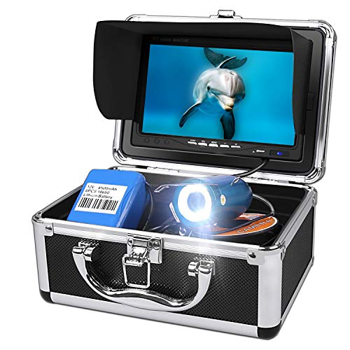 Unterwasser-Angelkamera, Fischfinder-System mit Temperatur und Tiefenfunktion des DVR-Aufzeichnungssystems, wasserdichte IP68-Kamera 7 '' mit Farb-LCD-Monitor mit 30 m Kabel (8 GB SD inklusive)