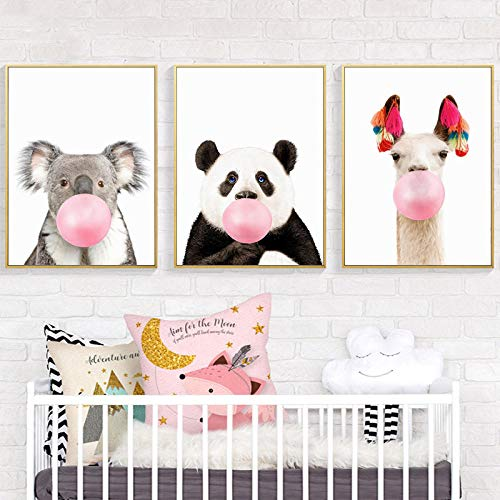 Leinwand Malerei Kinderzimmer Tiere Drucke Baby Panda Lama Känguru Koala Poster Rosa Kaugummi Wandkunst Kinderzimmer Wanddekoration 40x60cmx3 ungerahmt