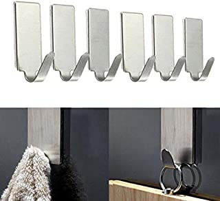 6PCS Self Adhesive Home Kitchen Wall Door Stainless Steel Holder Hook Hanger - HHmei 6 Loaded Stainless Steel Small Hooks