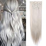 SEGO Rajout Cheveux Syntetique a Clip Extension pas Cher Raide - 66 cm Ash Blond Mèche Gris Argenté - [8 Piece 18 Clips] Clip in Hair