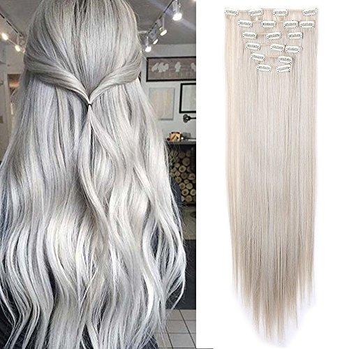 "Clip in Extensions 8 Tresssen Haarverlängerung Haarteil glatt guestig Aschblond Mix Silbergrau 26""(66cm)-140g"