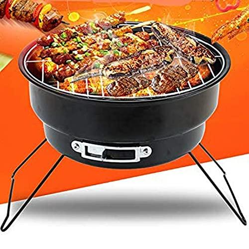 XUEXIU Estufa De Barril Portátil Plegable Al Aire Libre Parrilla Barril Barril Round Charcoal BBQ Grill Pequeño Horno De Picnic (Color : Gr015)