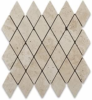 Ivory Travertine 2 X 4 Tumbled Diamond Mosaic Tile - 6