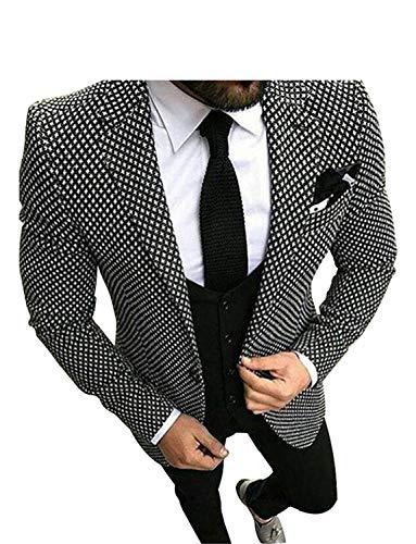 YYI Hombre Trajes a Cuadros Slim Fit Formal 3 Piezas Traje Chaqueta de Esmoquin Chaleco y pantalón