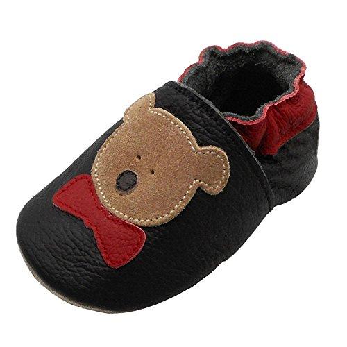 YIHAKIDS Premium Weiche Leder Krabbelschuhe Babyschuhe Kleinkind Lauflernschuhe(Size L,Schwarz,12-18 Monate,23 EU)