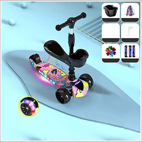 XER Vespa Plegable - Niño Vespa Multi-Color Claro Ruedas para niños y niñas Edad 5 + Regalos para los cumpleaños de los niños y la Navidad,Negro