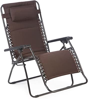 Patio Zero Gravity Lounge Chair in Mocha Color Ideal Garden Recline Seat Furniture