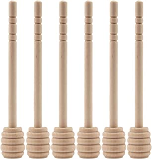 Mmei 50 pcs 6 Inch Portable Wood Honey Dipper Honey Stick for Honey Jam Jar Dispense