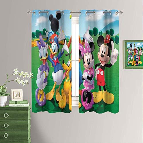 Cortinas opacas para ventana con diseño de Mickey Mouse y Donald Duck con ojales para oscurecimiento de la habitación, 42 x 54 pulgadas