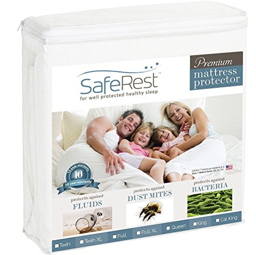 SafeRest Queen Size Premium Hypoallergenic Waterproof Mattress Protector - Vinyl Free