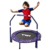 36-Inch Kids Trampoline Little Trampoline with Adjustable Handrail and...