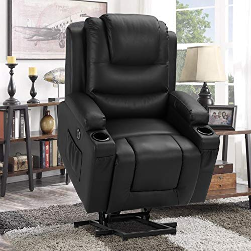 Electric Power Lift Recliner Chair for Elderly with Massage and Heat, Faux Leather Motorized Recliner Sofa for Living Room with Remote Control, 2 Cup Holders, USB Port and 2 Side Pockets(Black-PU)