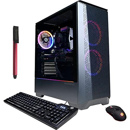 CyberPowerPC Gamer Master Gaming Desktop Computer, Hexa-Core AMD Ryzen 5 3600 (Beat i5-10400), 16GB DDR4 RAM, 1TB PCIe SSD + 2TB HDD, Radeon RX 580 8GB, AC WiFi, Windows 10, BROAGE 64GB Flash Drive