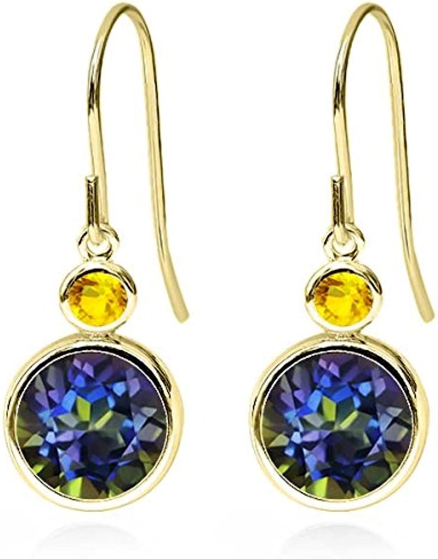 5.06 Ct Round bluee Mystic Topaz Yellow Sapphire 14K Yellow gold Earrings