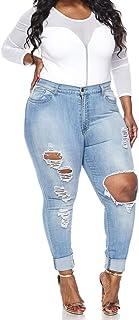 Vibrant Women's Juniors Ripped Rise Skinny Jeans
