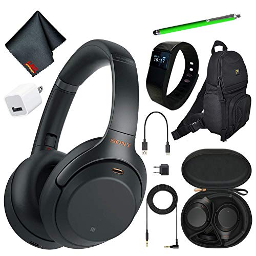 Sony WH-1000XM3B Wireless Bluetooth Noise-Canceling Over-Ear Headphones (Black) Essential Commuter Bundle Kit with Deluxe Backpack + Stylus + More