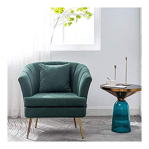 GIAOGIAO Sessel for Wohnzimmer Velvet Badewanne Stuhl Armlehne Sofa Komfortable Kissen for Wohnzimmer Schlafzimmer Fächerförmig (Color : Green)