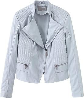 FYXKGLa Women's Leather Jacket Slim Leather Jacket Retro Stand Collar Leather Jacket Motorcycle Leather Jacket (Color : Blue, Size : S)