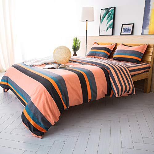 ESLITE LIFE 100% Cotton Orange Duvet Cover King Set Ultra Soft Comforter Cover with Button Closure Quilt CoverBedding Sets Queen Size for Home,Hotel Collection