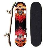 Sumeber Skateboard für Anfänger 31 x 8 Zoll Komplettboard mit ABEC-7 Kugellager Double Kick Skateboards Geburtstagsgeschenk für Kinder Teenager und Erwachsene (Flammenschädel)