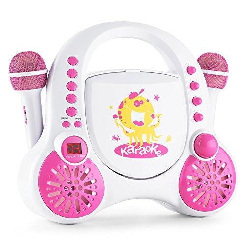 auna Rockpocket A-WH Karaoke Player Anlage Set (2 x dynamisches Mikrofon, CD-Player, Stereolautsprecher, Akkubetrieb, Wiederholfunktion, Echo-Effekt, A.V.C. Funktion) weiß