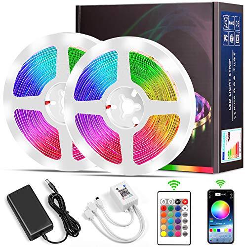 Tiras LED 10M, Micacorn 300LEDs RGB Luces LED de Colores SMD5050 Kit de Tira de Luz con Controlador Bluetooth Sincronización con Música para Dormitorio, Habitación, Hogar, Cocina (10M Bluetooth)