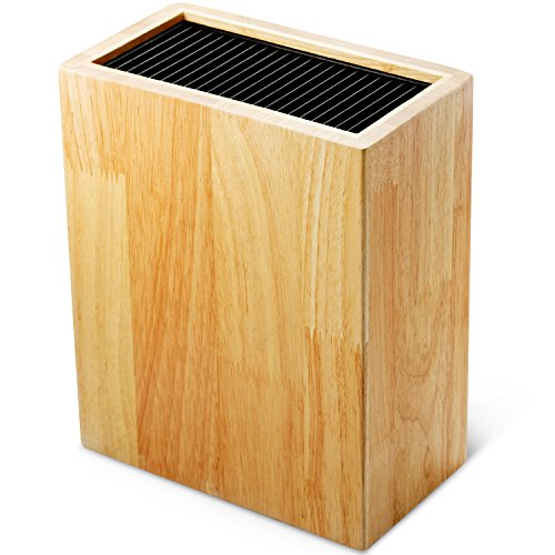 Alzurius Knife Block Without Knives, Kitchen Knives Holder Stand and Organizer, Hygienic and Safe Storage, Eco-Friendly Rubberwood Countertop Rack, Safe and Universal Protection of 10-12 Knives