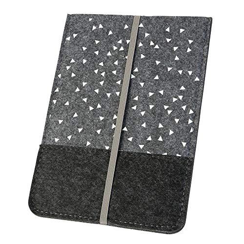 Hülle/Schutzhülle 'Dreiecke' für Kindle, grau (Farbe/Motiv wählbar) | eReader-Hülle für 6 Zoll (15cm) eBooks aus Filz