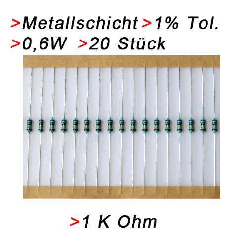 Widerstand 1 K Ohm, 20 Stück, Metallschicht 0.6W 1% Metallfilm Widerstände