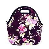 (Flower) - Shubb Neoprene Insulated Lunch Bag Tote for Women, Girls, Kids