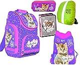 5-teiliges Schulranzenset My Little Friend Ranzen Schulranzen, Federtasche, Turnbeutel, Schlamperetui, Regenschutz Kinder Katze Cat