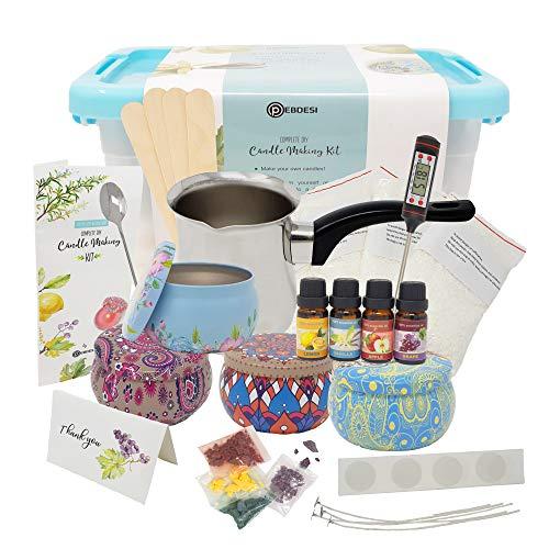 PEBDESI - Komplettes Kerzenherstellungskit - Erstellen Sie duftende Wachskerzen - Komplettes Anfängerset mit 225 Gramm Wachs, reichhaltigen Düften, Farbstoffen, Dochten und vielem...