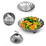 Food-Grade Stainless Steel Steamers Vegetable Steamers Basket with Extendable Handle and Foldable Silicone Feet,Strainer Insert for Pots, Pans, Crock Pots & More 9inch