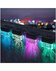 LED Solar Step Light Outdoor IP55 Waterdicht Polysilicium Zonnepaneel Milieubescherming 1000Ma Slimme Decoratieve Verlichting Trapleuning Kleur Licht BDSHL (Color : Black shell)