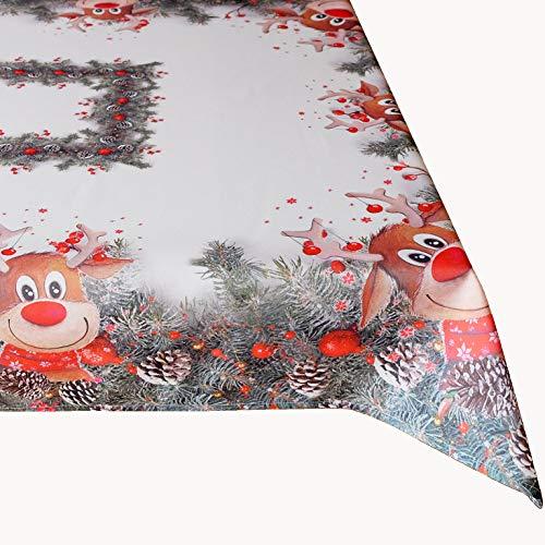 Kamaca Serie Elch mit roter Nase hochwertiges Druck-Motiv mit lustigen Elchen Eyecatcher in Winter Weihnachten (Tischdecke 110x160 cm)
