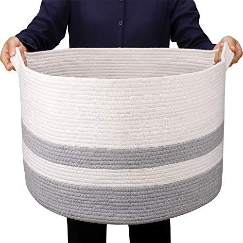 GOCAN Canasta de Cuerda de algodón Cestas de lavandería Tejidas para Mantas Canasta de Almacenamiento con Asas para vivero Juguetes Plantas Almohadas Sala de Estar Canasta de cestas (Light Grey)
