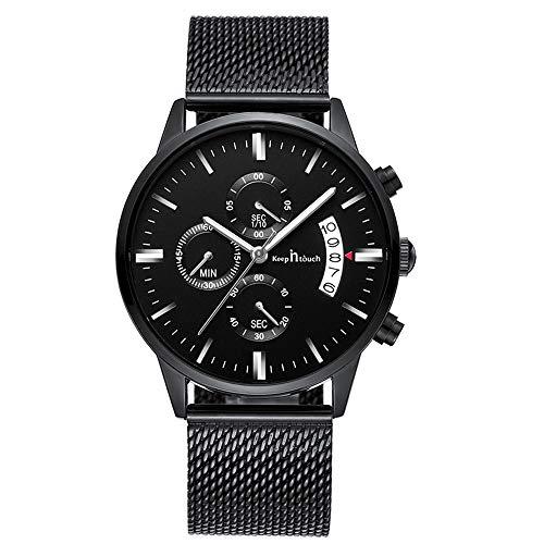 Infinito U-Relojes para Hombre Impermeable Cronógrafo Correa de Acero Inoxidable Analógico de Cuarzo Relojes de Pulsera Reloj de Negocios para Hombres Puntero Luminoso