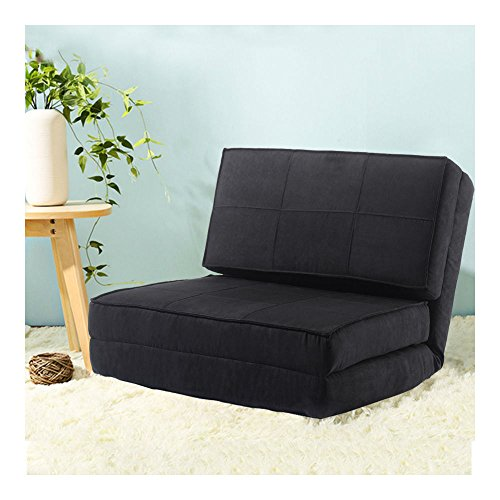 Fold Down Chair Flip Out Lounger Convertible Sleeper Bed Couch Game Dorm Guest BLACK