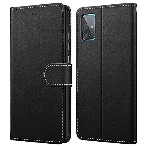 WE LOVE CASE Hülle für Samsung Galaxy A71, Schutzhülle/Klapphülle Flip Leder Hülle Abnehmbare Tasche mit Standfunktion Handyhülle mit Kartenfächer Magnetverschlüsse für Samsung A71, Schwarz