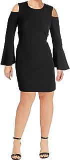 فستان Calvin Klein نسائي طويل الأكمام بقصة واسعة مع تفاصيل الكتف الباردة