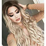 Ombre Blonde Wig Wavy Soft Brown Roots Ash Blonde Ombre Wigs for Women Glueless Long Wavy Synthetic Wig with Middle Parting Heat Resistant 27 Inches