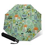 Paraguas plegable de viaje, jardín de hadas automático TRIF-Old a prueba de viento para mujeres con protección UV, apertura y cierre automático