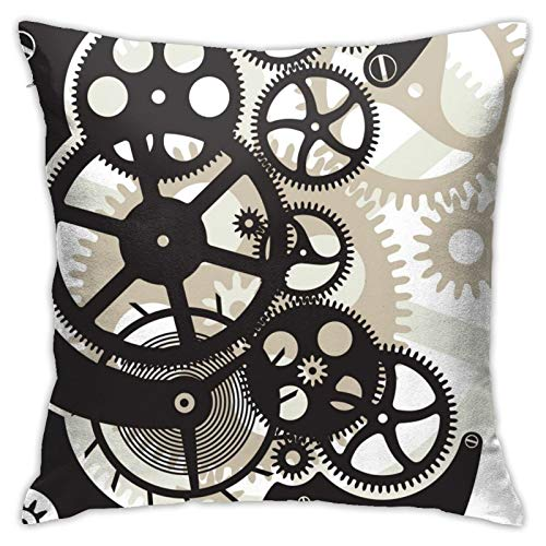 WAZHIJIA Cog Wheels Pillow Covers Decorative Square Pillowcase Soft Solid Cushion Case for Sofa Bedroom Car 18 X 18 Inch