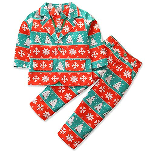 OhhGo Weihnachtsanzug für Kinder, 3-teilig, Jacke + Hose + Krawatte Gr. 120 cm, Rot, Grün, Schnee.