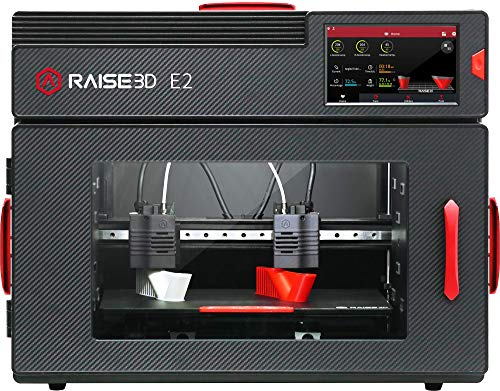 Raise3D E2 Desktop 3D Printer - Features IDEX (Independent Dual Extruders), Auto Bed Leveling, Video-Assisted Offset Calibration, Power Loss Recovery, Filament Run-Out Sensors