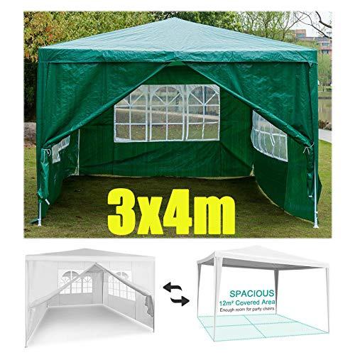 Huini 3 x 4 m Bierzelt Gartenpavillon mit 4 Seitenteilen Partyzelt Pavillon Marktzelt Wasserdicht für Party/Hochzeit/Picknick/BBQ - grün
