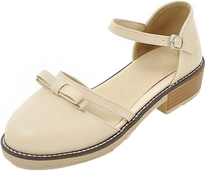 AllhqFashion Women's Round-Toe Low-Heels Pu Solid Buckle Sandals, FBULD015299