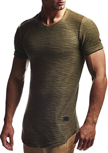 Leif Nelson Camiseta para Hombre con Cuello Redondo LN-6324 Caqui Medium